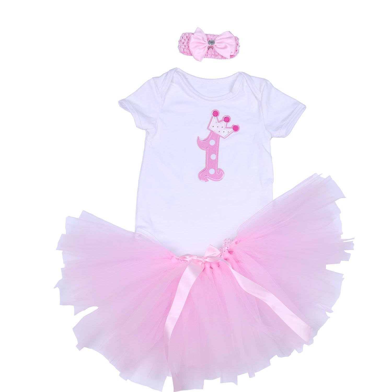 BabyPreg Baby Girl's 1st Birthday Outfit, Onesie Tutu Dress Headband 3Pcs
