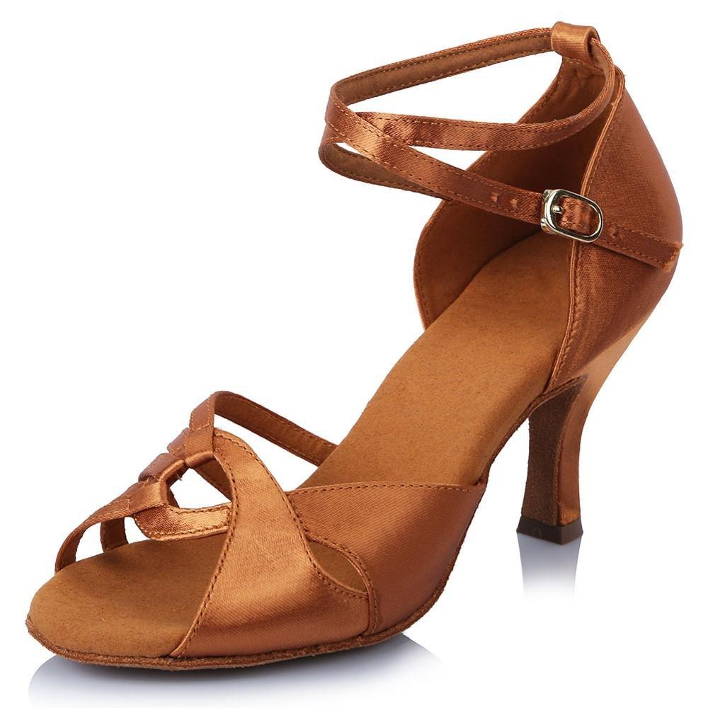 YFF Frauen Satin Strass Latin Dance Schuhe Gesellschaftstänze