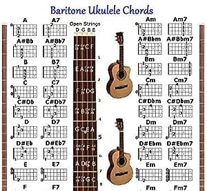 Amazon.com: BARITONE UKULELE CHORDS CHART - FOR UKE ...