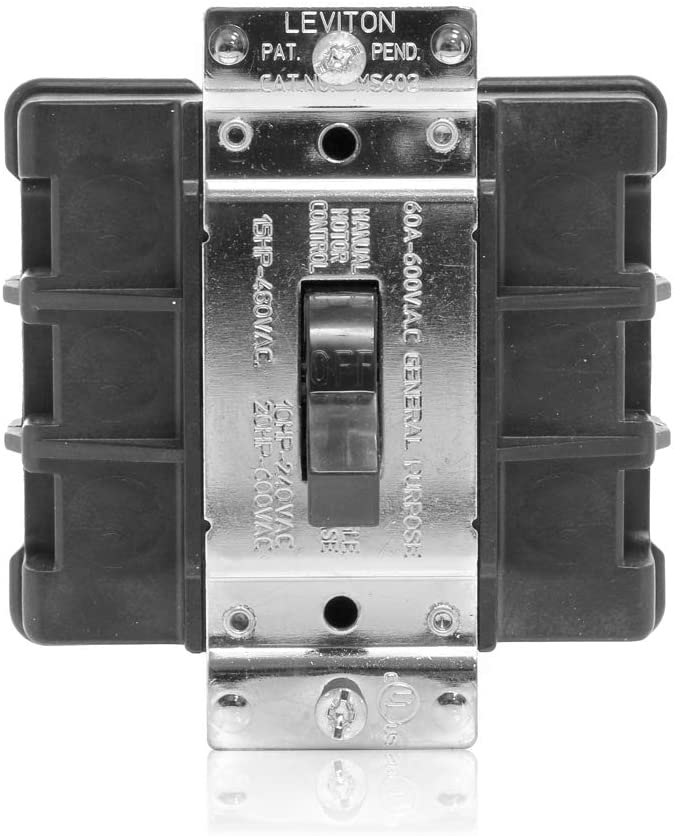 Leviton MS603-BW 60 Amp, 600 Volt, Toggle Three-Pole AC Motor Starter, Suitable as Motor Disconnect, Industrial Grade, Non-Grounding, Back Wired, Black