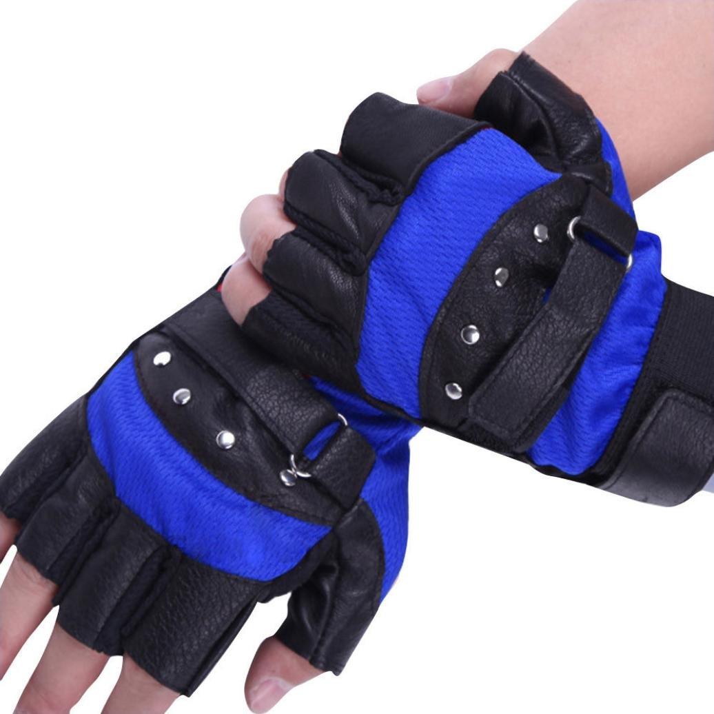CMrtew Fashion Men Soft Leather Driving Motorcycle Biker Fingerless Warm Gloves