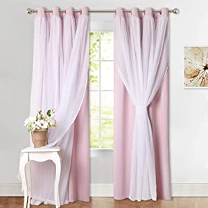 PONY DANCE Pink and White Curtains - Living Room Elegance Crushed Voile with Blackout Drapes Window Covering for Nursery Girl, 52 by 95 inches, Light Pink, 2 PCs