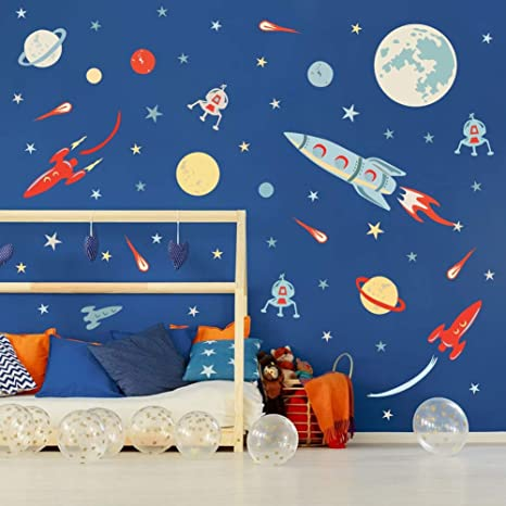 Amazon Com Colorful Outer Space Wall Decal 73pcs Solar System Wall Sticker For Nursery Explorer Planets Spaceship Stars Decal Playroom Classroom Decoration Kitchen Dining