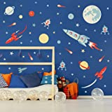 Colorful Outer Space Wall Decal (73pcs), Solar System Wall Sticker for Nursery Explorer,Planets Spaceship Stars Decal…