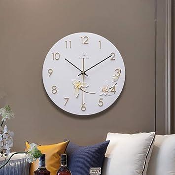 Reloj de Jardín con Flores de Ensueño, Tablas de Pared de Ambiente Simple de Sala de Estar, Relojes Decorativos, Reloj de Relieve Redondo Silencioso Estilo Chino,D,11 pulgadas: Amazon.es: Bricolaje y herramientas