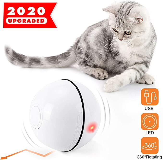 Imagen deYidaxing Bola de Gato, Juguetes para Gatos Pelotas, Carga USB Bola Giratoria Automática, Bola Eléctrica de 360 Grados con Luz LED Juguete Interactivo para Animal Doméstico Gatos(Blanco)