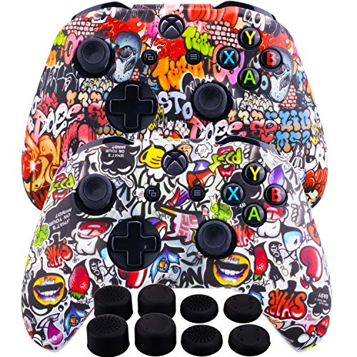 (MXRC Silicone Rubber Cover Skin Case Anti-slip Water Transfer Customize Camouflage for Xbox One/S/X Controller x 2(Street Art Pack) + FPS PRO Extra Height Thumb Grips x 8)
