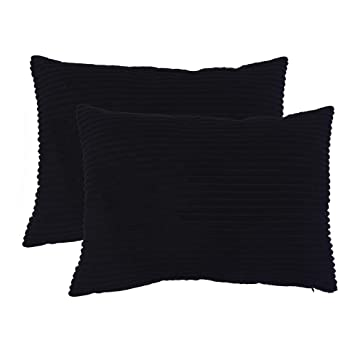 Awesome Famibay Set Of 2 Super Soft Throw Pillow Cover Solid Waist Oblong Pillow Covers 12X 20 Decorative Corduroy Cushion Covers For Living Room Black Andrewgaddart Wooden Chair Designs For Living Room Andrewgaddartcom