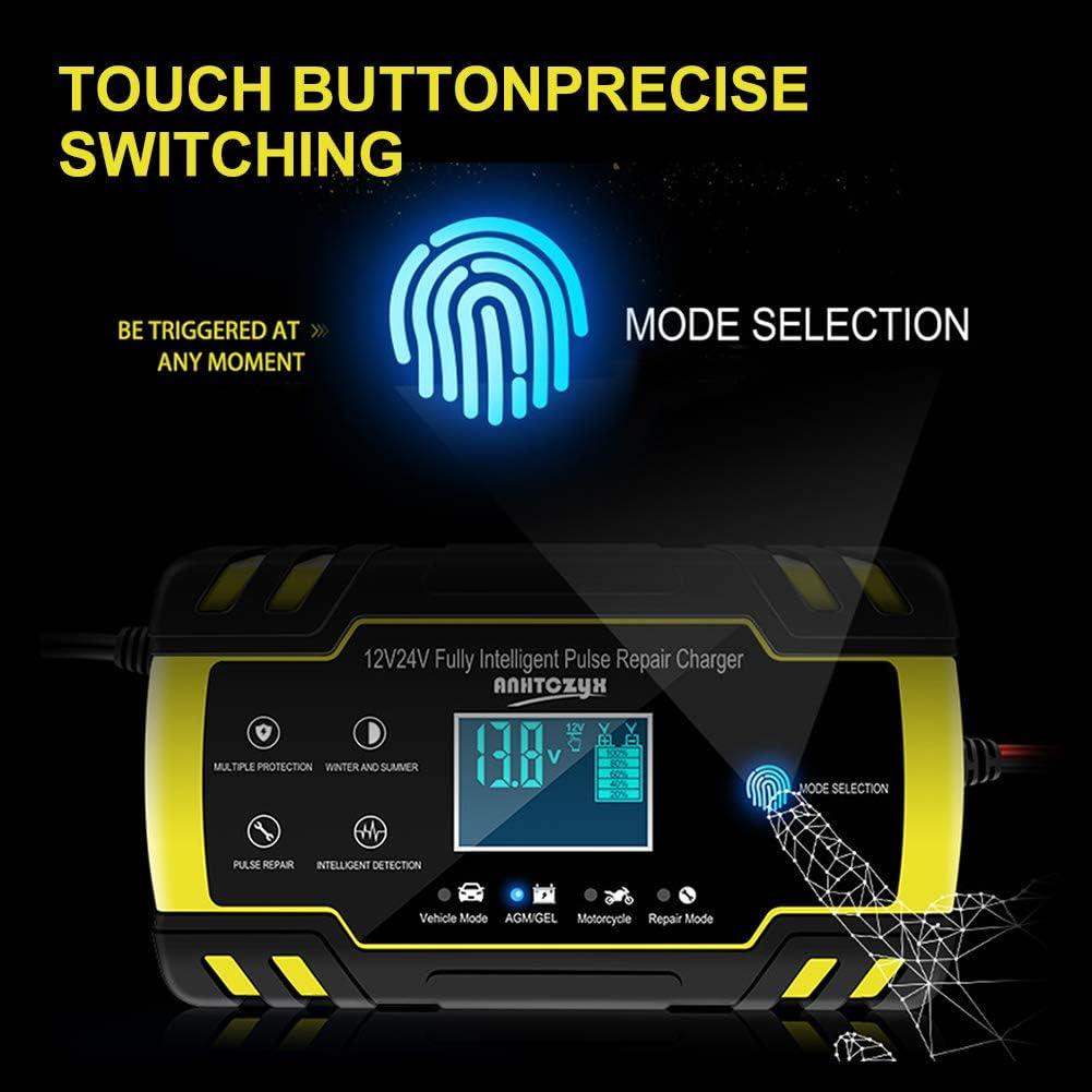 NWOUIIAY Chargeur de Batterie Intelligent Portable 8A 12V//4A 24V LCD /Écran avec Protections Multiples Type de r/éparation pour Batterie de Voiture Moto