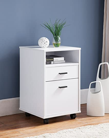 Smart Home 2 Drawer Single Shelf File Cabinet (White)
