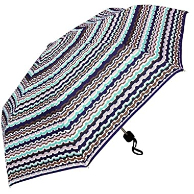 RainStoppers 42-Inch Auto Open Navy Stripe Pattern Umbrella