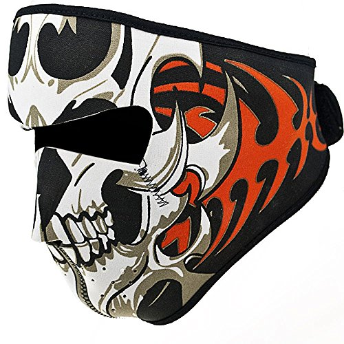 Dayan Cube Astra Depot 2 in 1 Reversible Windproof Warm Black Tribal Classic Skull Neoprene Half Face Mask Facemask Headwear Motorcycle ATV Biker Bike Cycling ()