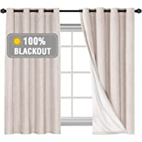 100% Blackout Curtains for Bedroom/Living Textured Linen Look Thermal Insulated Blockout Window Curtain Draperies with…