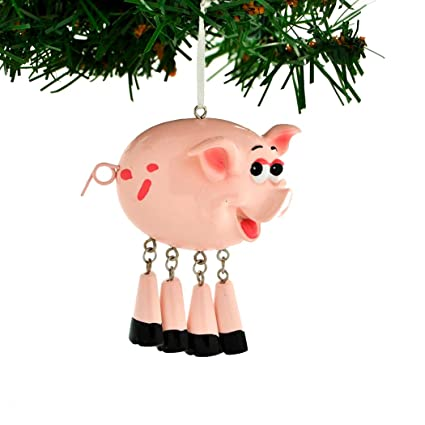 0c59aa55db012 Personalized Farm Animals Christmas Ornament for Tree 2018 - Cute Pink Pig  Dangling Legs - Farmer