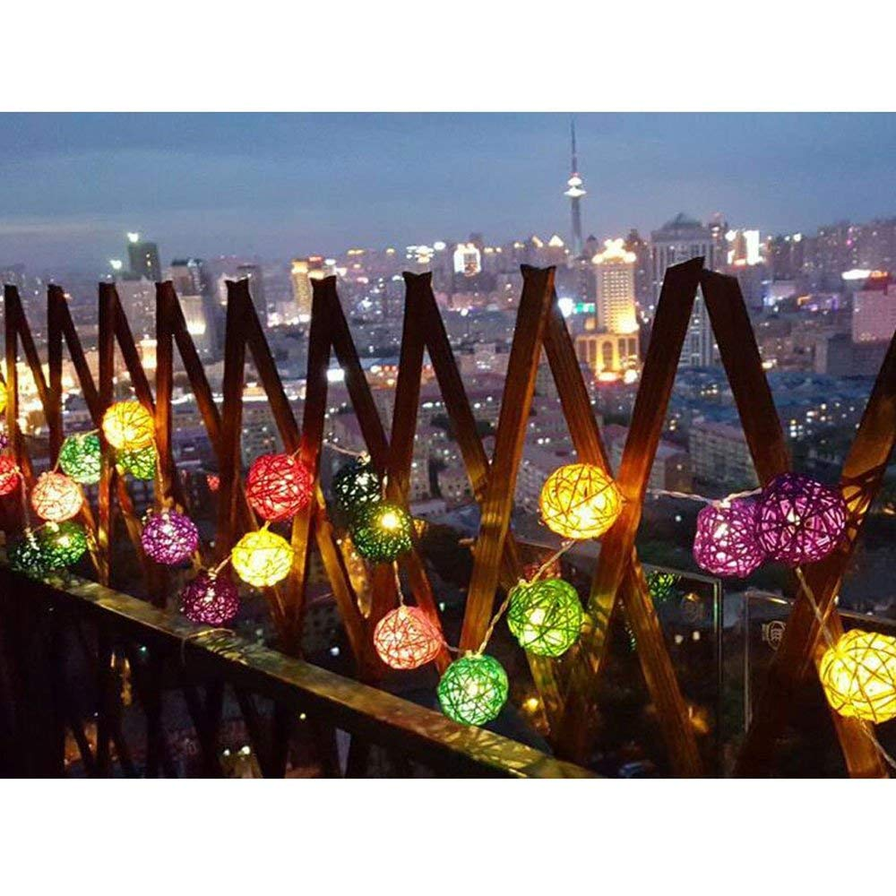 CM Flicker Rattan Ball String Lights,9 feet 20 Fairy Ball Light Plug in,Christmas Light for Indoor Outdoor Home Bedroom Curtain Window Wedding Party Holiday Decorative Warm White