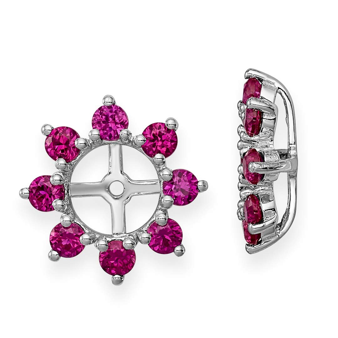 ICE CARATS 925 Sterling Silver Created Red Ruby Earrings Jacket Birthstone July Fine Jewelry Ideal Gifts For Women Gift Set From Heart