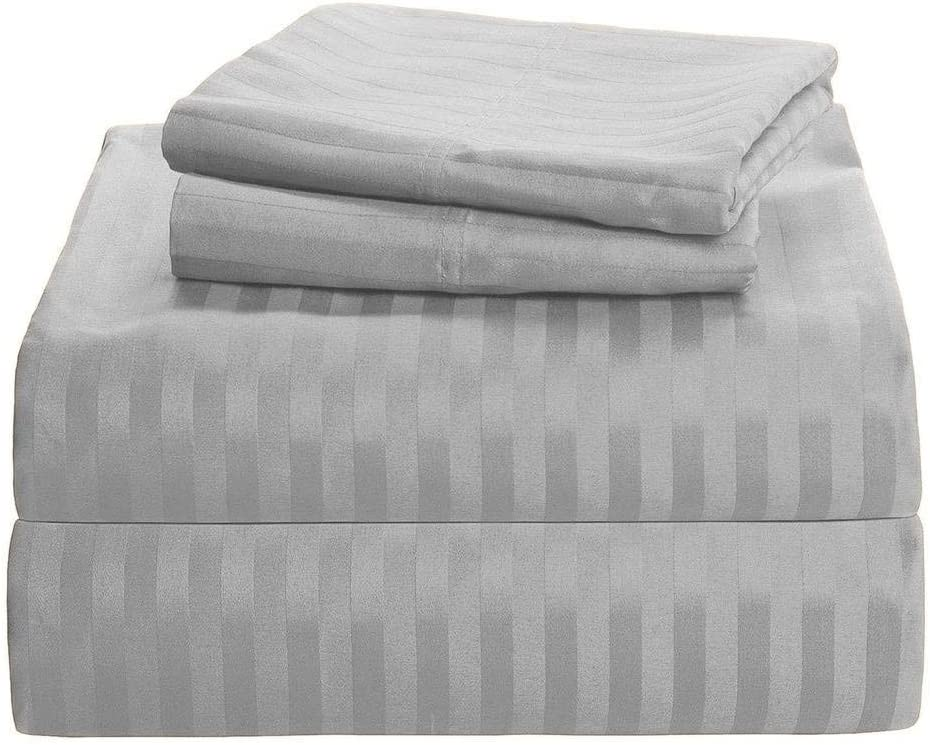 Stripe Extra Deep Fitted Sheet 600 Thread Count 100/% Egyptian Cotton Double King