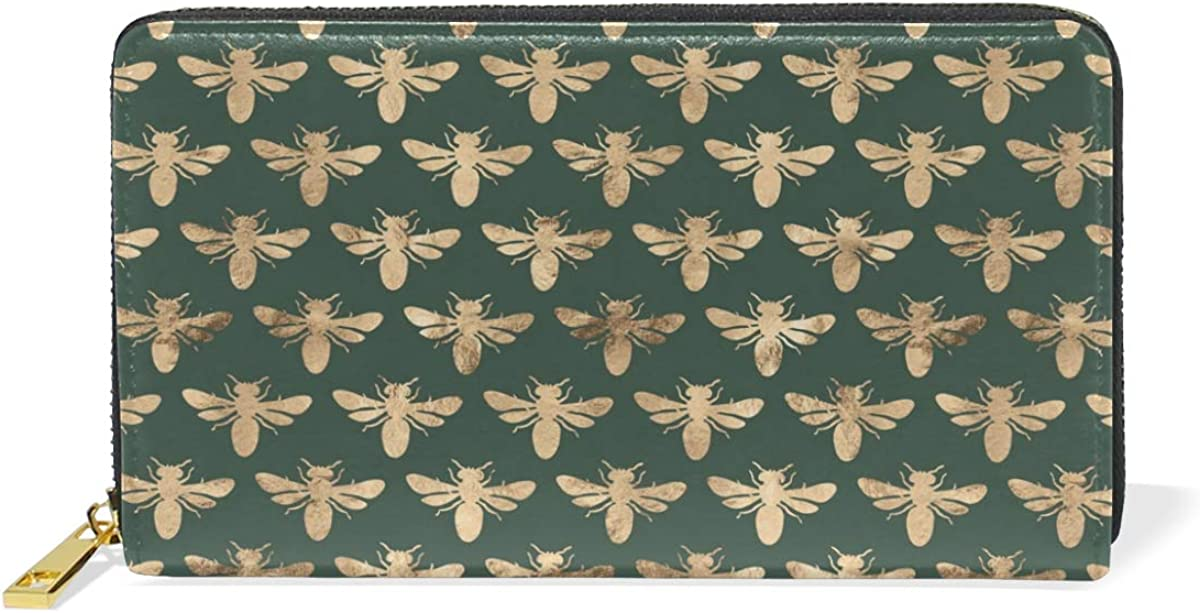 Genuine Leather Wallets Womens Around Zip Wallet European Vintage Bee Deep Green Purse Clutch Card Holder for Girl