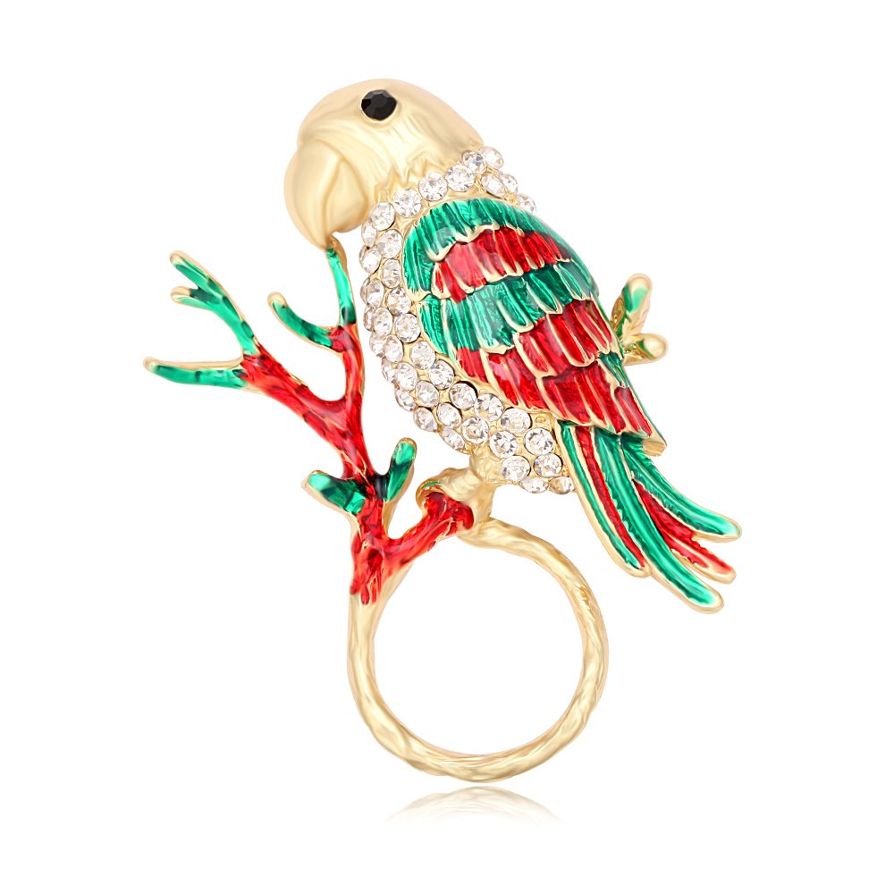TUSHUO Natural Enamel Parrot on Tree Branch Magnetic Eyeglass Holder Parrot Birds Brooch for Animal Lover
