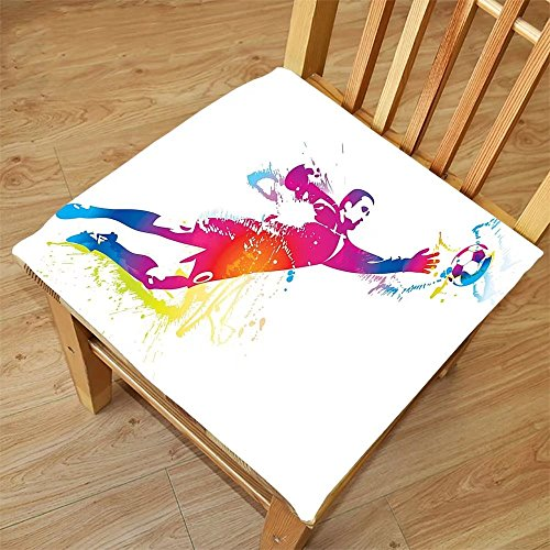 Nalahome Set Of 2 Waterproof Cozy Seat Protector Cushion Sports Decor Goalkeeper Catches The Ball Goaly Star Training International Game Rainbow Artsy Spray Design Multi Printing Size 18X18inch