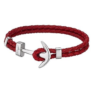 Lotus , LS1832,2/2  Bracelet Homme Cuir et Acier , Ancre rouge