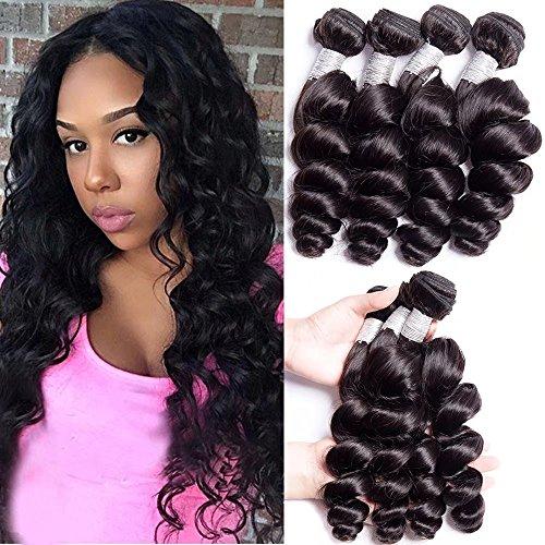 Maxine 10A Malaysian Loose Wave Hair 4 Bundles Virgin Hair Bundle Deals Malaysian Hair Unprocessed Human Hair Loose Wave Hair Extensions Malaysian Bundles Human Hair(16 18 20 22inch,Natural Black)