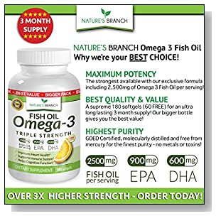 BEST TRIPLE STRENGTH Omega 3 Fish Oil Pills ? 180 Capsules ? 2500mg HIGH POTENCY Lemon Flavor 900mg EPA 600mg DHA Pure Burpless Liquid Capsules Brain Joints Eyes Heart Health Supplement