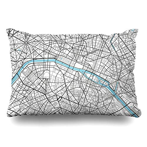 Ahawoso Throw Pillow Cover King 20x36 Vintage Black White City Map Paris Artistic Abstract Arc Triomphe Cartography Drawing Line Cushion Case Home Decor Pillowcase