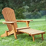 PayLessHere Wood Adirondack Chair Foldable w/Pull Out Ottoman Patio Furniture Outdoor