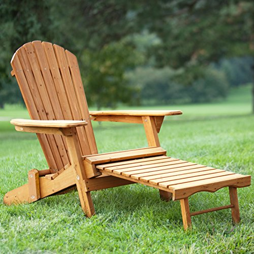 FDW Outdoor Wood Adirondack Chair Foldable w/Pull Out Ottoman Patio Furniture 240 by FDW