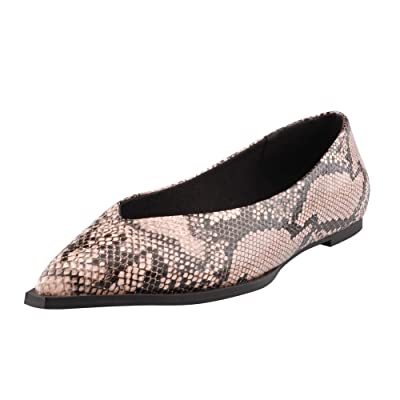 Women Basic Pointed Toe Snakeskin Ballet Flats Slip on Pumps Casual Shoes: Clothing