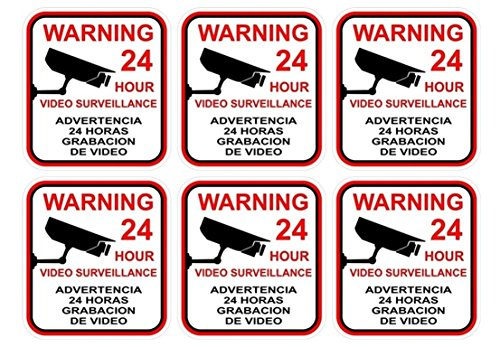 6 Pcs Ideal Popular Video Surveillance Sticker Yard Sign Being Watched Bumper Security Anti-Thief Size 3' x 3'