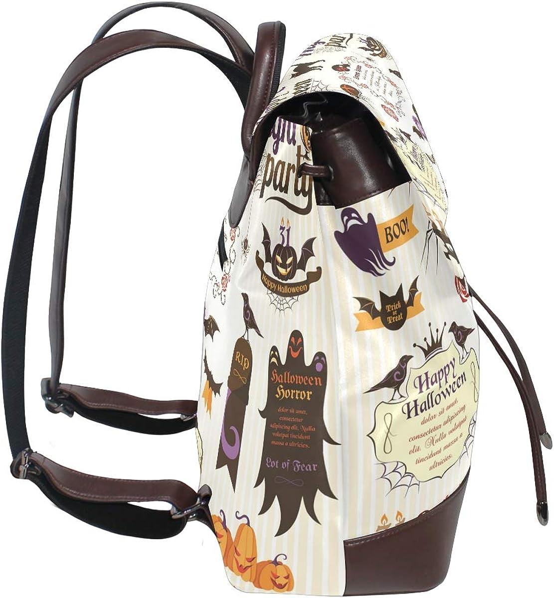 KEAKIA Women PU Leather Halloween Elements Backpack Purse Travel School Shoulder Bag Casual Daypack