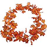 Gtidea 15 Feet Artificial Silk Fall Maple Leaf Garland Autumn Hanging Vine Wholesale Home Party Ceremony Wedding Window Wall Decoration Set of 2