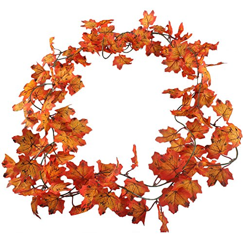 Gtidea 2 pack Artificial Maple Leaves Silk Vines Plants Hanging Rattan Fences Windows Wall Decoration Wholesale Home Party Ceremony Wedding Red