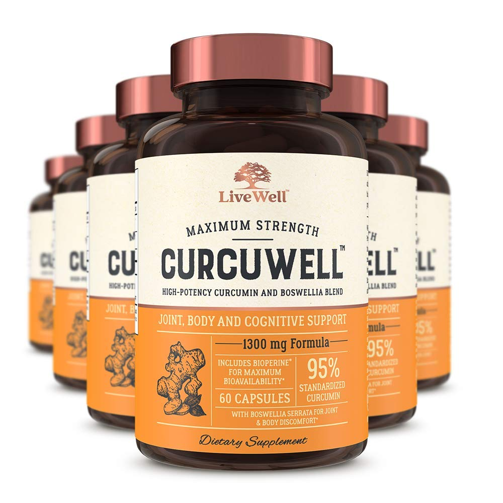 CurcuWell – Maximum Strength Joint, Body and Cognitive Support High-Potency Curcumin and Boswellia Blend 360 Capsules
