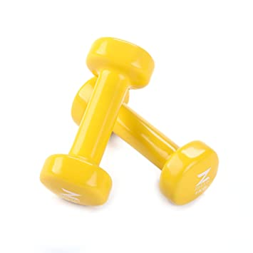ZELUS Mancuernas de hierro fundido con revestimiento de vinilo para entrenamiento Fitness (juego de 2) Amarillo 1kg: Amazon.es: Deportes y aire libre