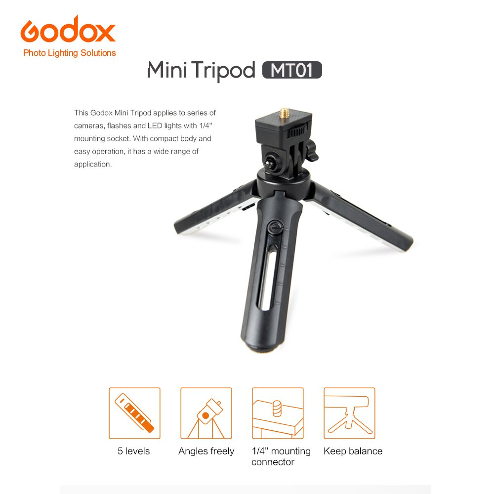 1//4-20 Mounting Connector for Godox AD200 Godox A1 Digital Camera Godox Mini Tripod MT-01 Folding Table Top Stand with 5 Level Extender DSLR Video Camera /& Camcorder