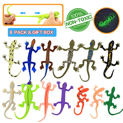Lizards Toys,8 Piece Mini Rubber Lizard Set,Food Grade Material TPR Super Stretchy,With Learning Study Card Gift Bag-Realistic Lizard Figure Bathtub Squishy Toy-Gecko Iguana Chameleon Komodo -