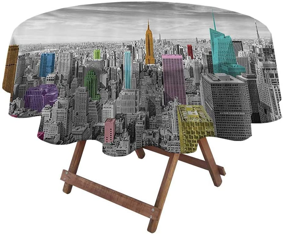 "Outdoor Tablecloth Cityscape Decor Fourth of July Tablecloth NYC New York City Skyline Panoramic Picture 60"" Diameter Gray Pink Blue Merigold"