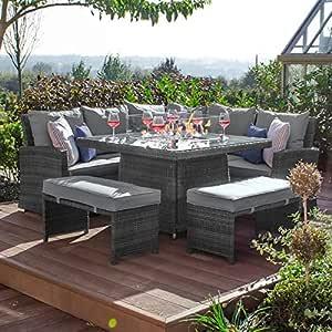 Nova - Juego de sofá esquinero y Hoguera de ratán para jardín, Color Gris: Amazon.es: Hogar