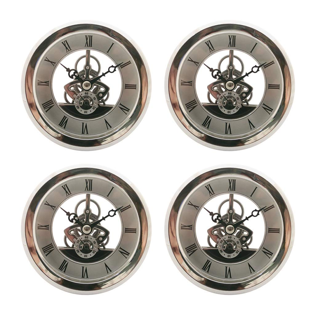 Fityle 4 Pieces Clear Skeleton Insert Clock Movement Quartz Battery Fit Up 91mm Silver Roman Dial by Fityle (Image #4)