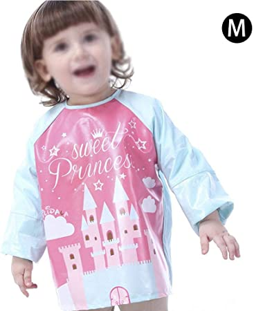 Delantal para niños Dibujo Animado impermeable bata pintura niños Otoño y Invierno Algodón Desgaste puede delantal de manga larga para 0 – 4 años Château de princesse rose Talla:L: Amazon.es: Bebé