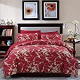 Brandream Japanese Oriental Style Cherry Red Blossom Floral branches Print Duvet Quilt Cover 300tc Cotton Bedding 3 piece Set (Queen)