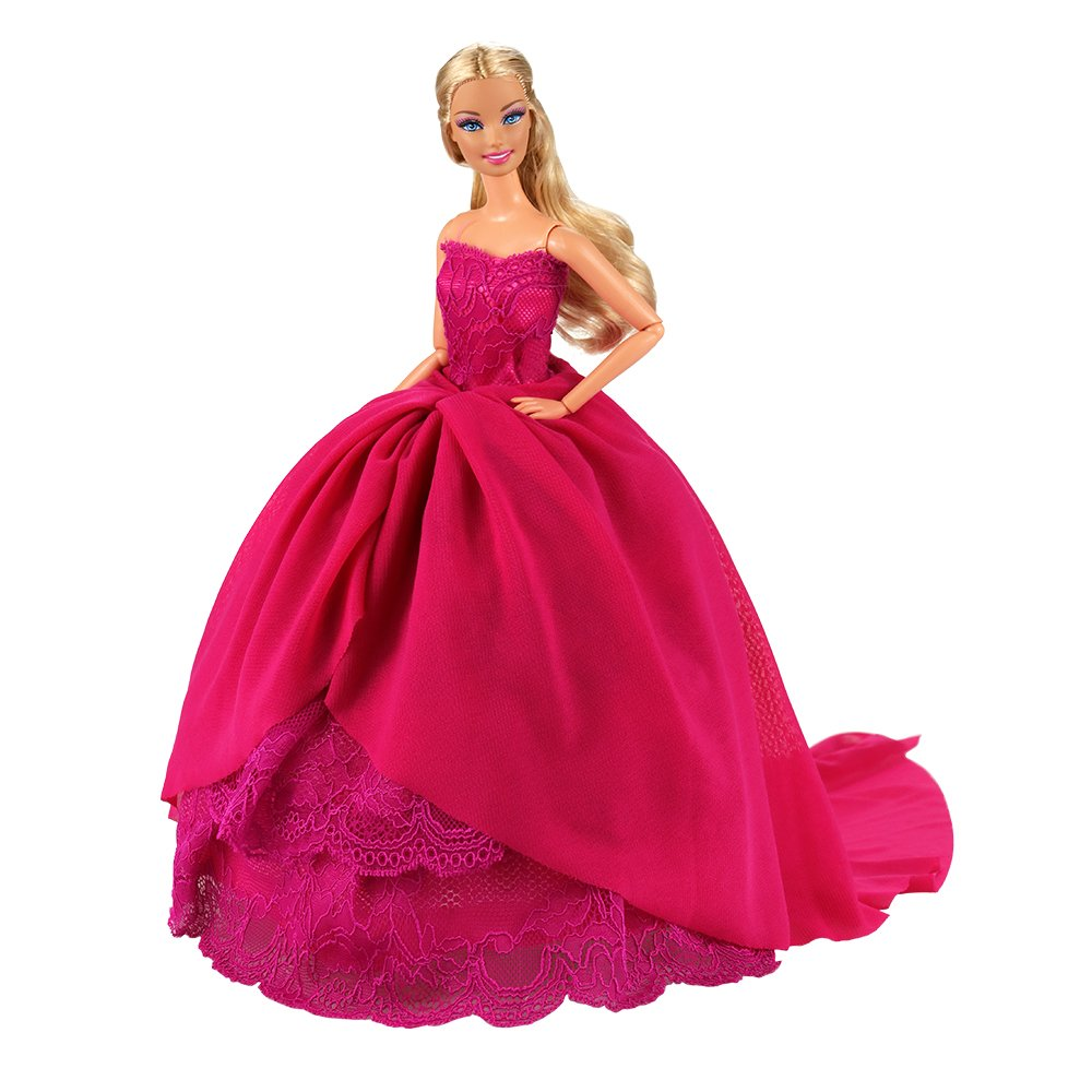 Black BARWA Pink Princess Evening Party Clothes Wears Train Wedding Gown Dress Outfit for 11.5 Inch Girl Doll