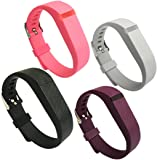 4PCS Replacement Silicone Band for Fitbit Flex Wristband Strap with Buckle/Fastener Small/Large