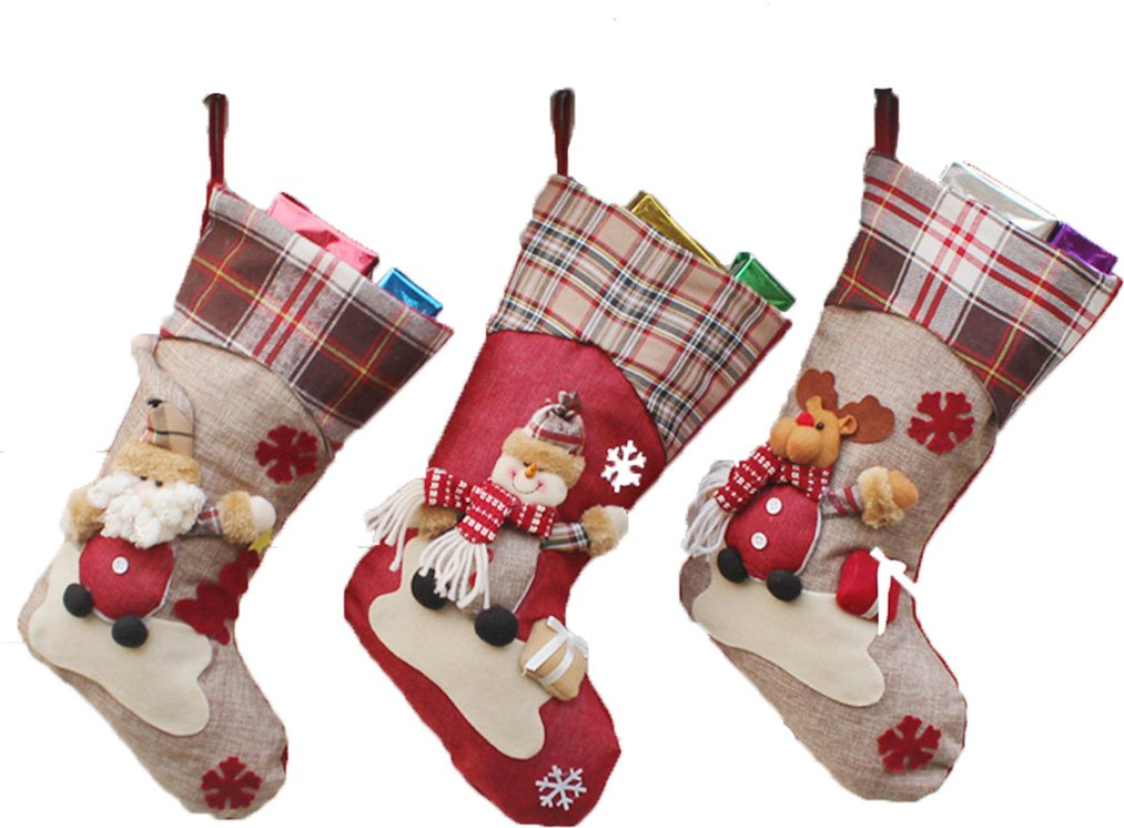 (3 Pack) Classic Christmas Stockings 18'' Cute Santa's Toys Stockings Plush 3D Applique Style Felt Christmas Stockings, Detailed Designs, Embroidered Edges, Hanging Loops (Snow Flower)