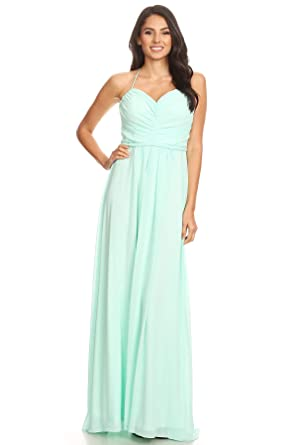 LA Mint Womens Bridesmaid Dress Grecian Full Length Halter Dress X-Small