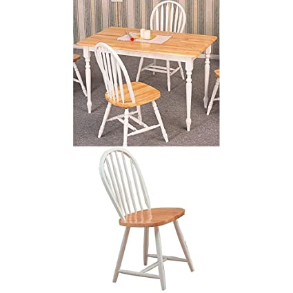 Coaster 5-pc Butcher Block Farm Dining Room Set with Dining Table and 4  Chairs , Two-Tone Natural and White Finish
