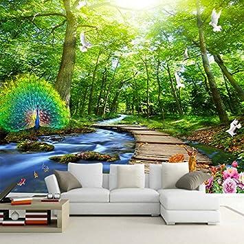 Sykdybz Benutzerdefinierte Wandbild Tapete 3D Wald Peacock Holz Brücke Natur  Landschaft Foto Wandbilder Wohnzimmer Fernseher